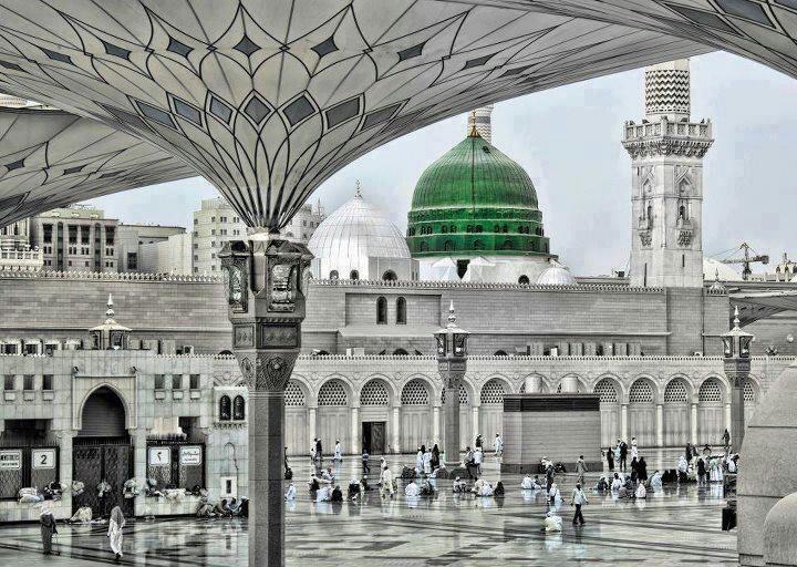 Ilustración de la Mezquita del Profeta, en Madina, donde se estableció la Sunnah y tuvo lugar el amal de la gente de Medina