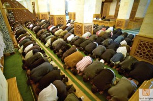 Muslims pray or, perhaps more correctly, worship five times throughout the day.